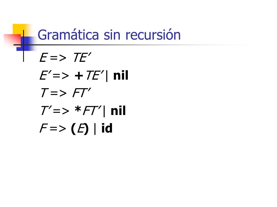 Gramática sin recursión E => TE E => +TE | nil T => FT T => *FT | nil F => (E) | id