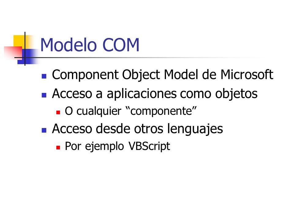 Modelo COM Component Object Model de Microsoft Acceso a aplicaciones como objetos O cualquier componente Acceso desde otros lenguajes Por ejemplo VBSc