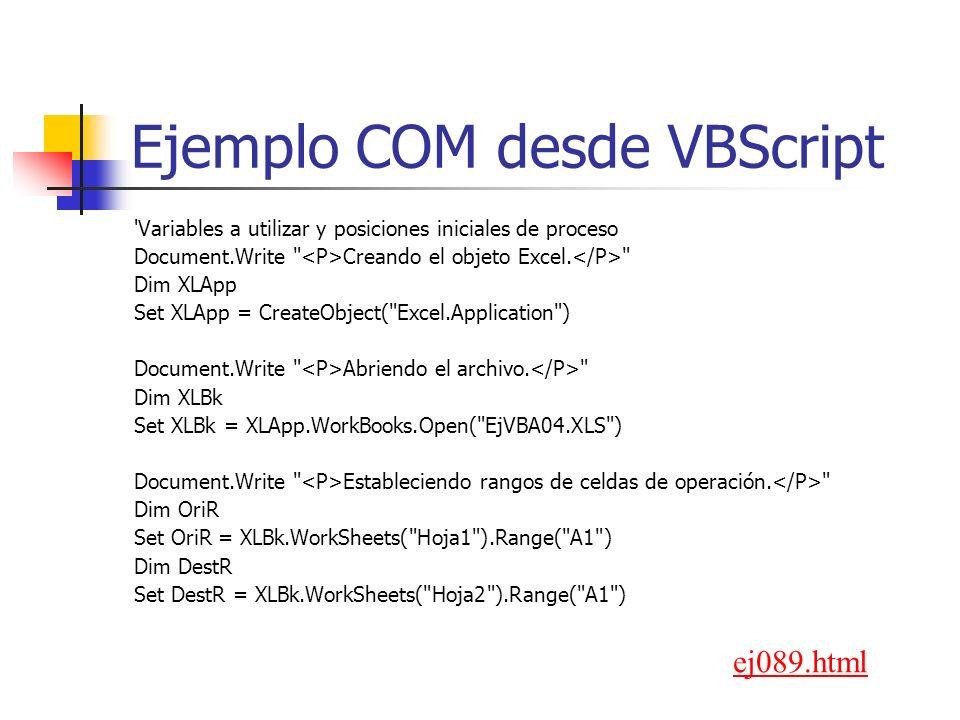 Ejemplo COM desde VBScript 'Variables a utilizar y posiciones iniciales de proceso Document.Write