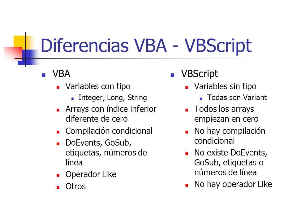 Diferencias VBA - VBScript VBA Variables con tipo Integer, Long, String Arrays con índice inferior diferente de cero Compilación condicional DoEvents,
