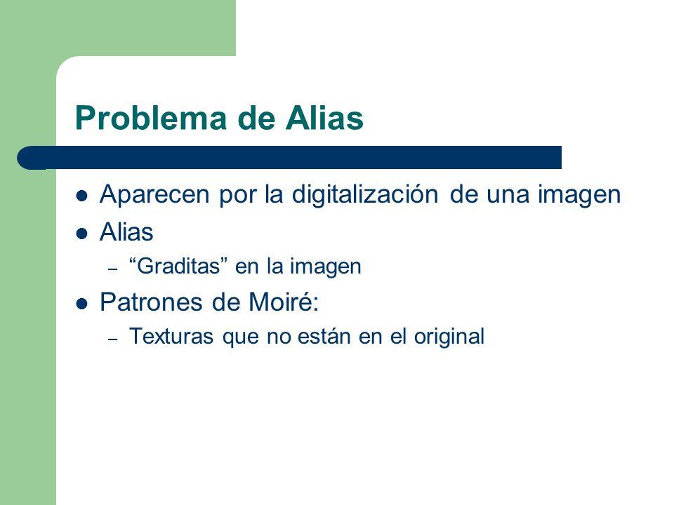 Problema de Alias Aparecen por la digitalización de una imagen Alias – Graditas en la imagen Patrones de Moiré: – Texturas que no están en el original