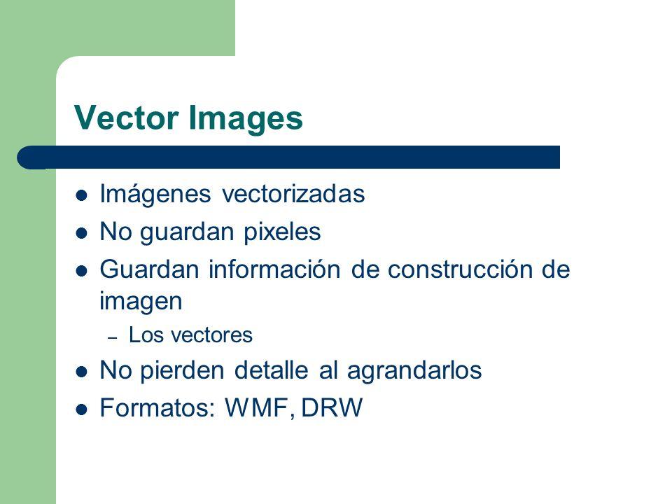 Vector Images Imágenes vectorizadas No guardan pixeles Guardan información de construcción de imagen – Los vectores No pierden detalle al agrandarlos Formatos: WMF, DRW