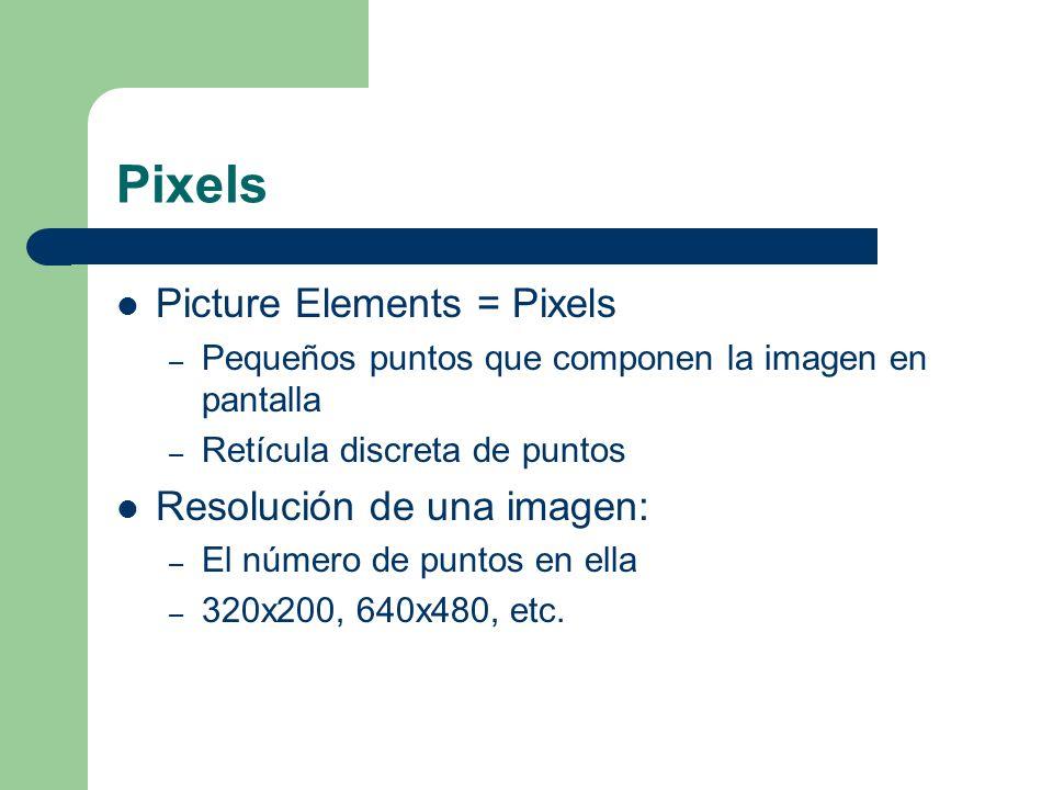 Pixels Picture Elements = Pixels – Pequeños puntos que componen la imagen en pantalla – Retícula discreta de puntos Resolución de una imagen: – El número de puntos en ella – 320x200, 640x480, etc.