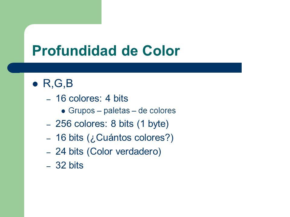 Profundidad de Color R,G,B – 16 colores: 4 bits Grupos – paletas – de colores – 256 colores: 8 bits (1 byte) – 16 bits (¿Cuántos colores?) – 24 bits (Color verdadero) – 32 bits