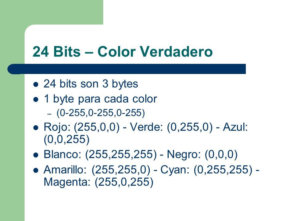 24 Bits – Color Verdadero 24 bits son 3 bytes 1 byte para cada color – (0-255,0-255,0-255) Rojo: (255,0,0) - Verde: (0,255,0) - Azul: (0,0,255) Blanco: (255,255,255) - Negro: (0,0,0) Amarillo: (255,255,0) - Cyan: (0,255,255) - Magenta: (255,0,255)