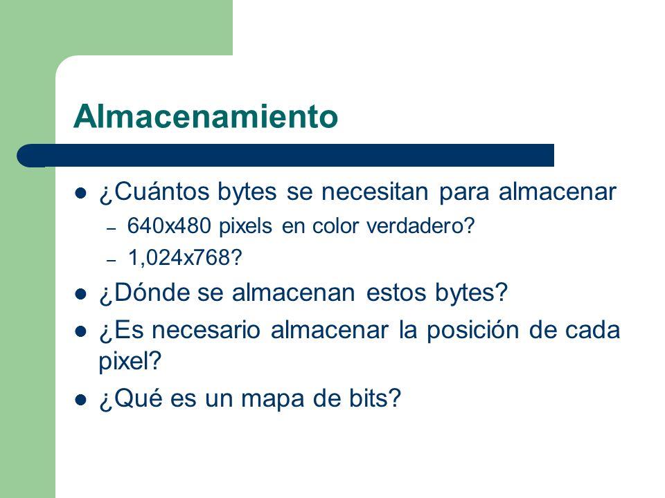 Almacenamiento ¿Cuántos bytes se necesitan para almacenar – 640x480 pixels en color verdadero? – 1,024x768? ¿Dónde se almacenan estos bytes? ¿Es neces