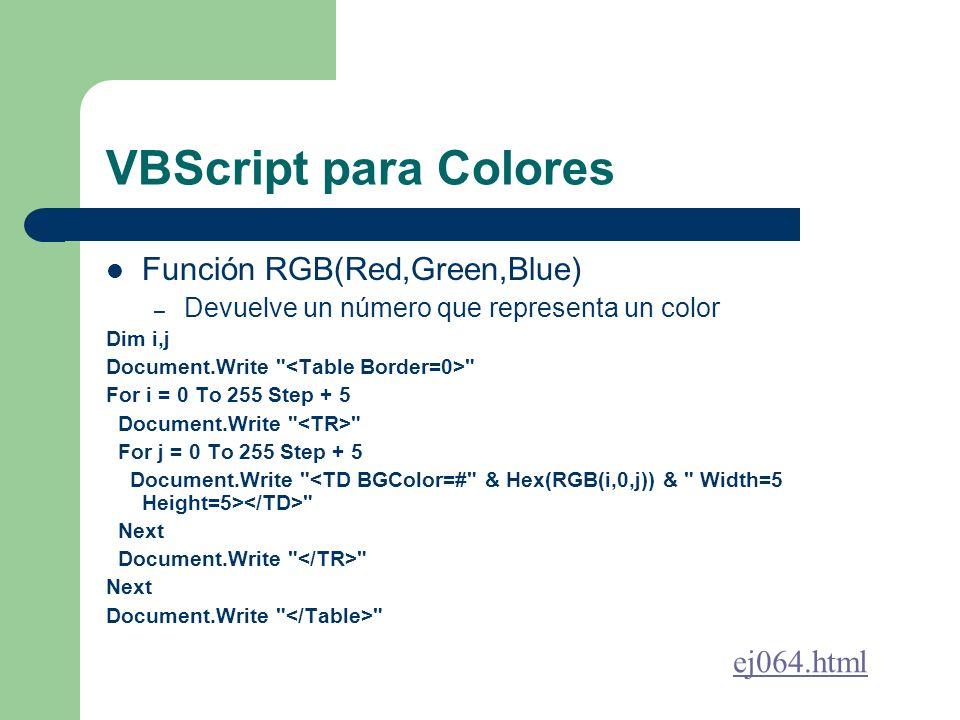VBScript para Colores Función RGB(Red,Green,Blue) – Devuelve un número que representa un color Dim i,j Document.Write For i = 0 To 255 Step + 5 Document.Write For j = 0 To 255 Step + 5 Document.Write Next Document.Write Next Document.Write ej064.html