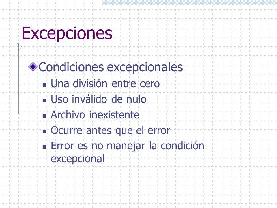 Excepciones Condiciones excepcionales Una división entre cero Uso inválido de nulo Archivo inexistente Ocurre antes que el error Error es no manejar la condición excepcional