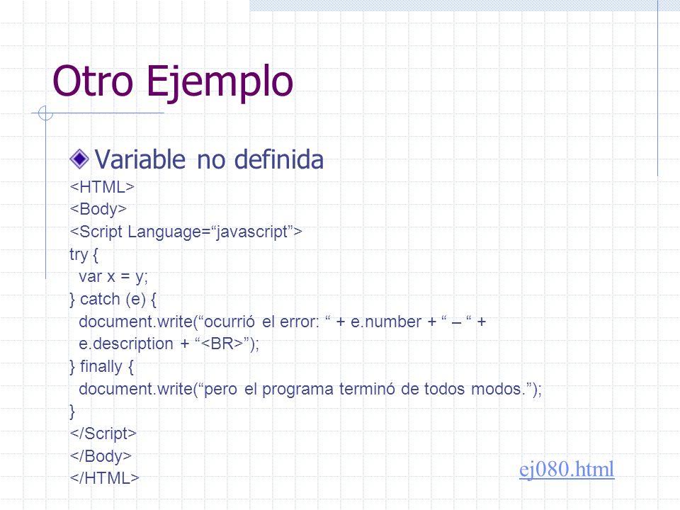 Problema ¿Cuál es el error equivalente en VBScript?