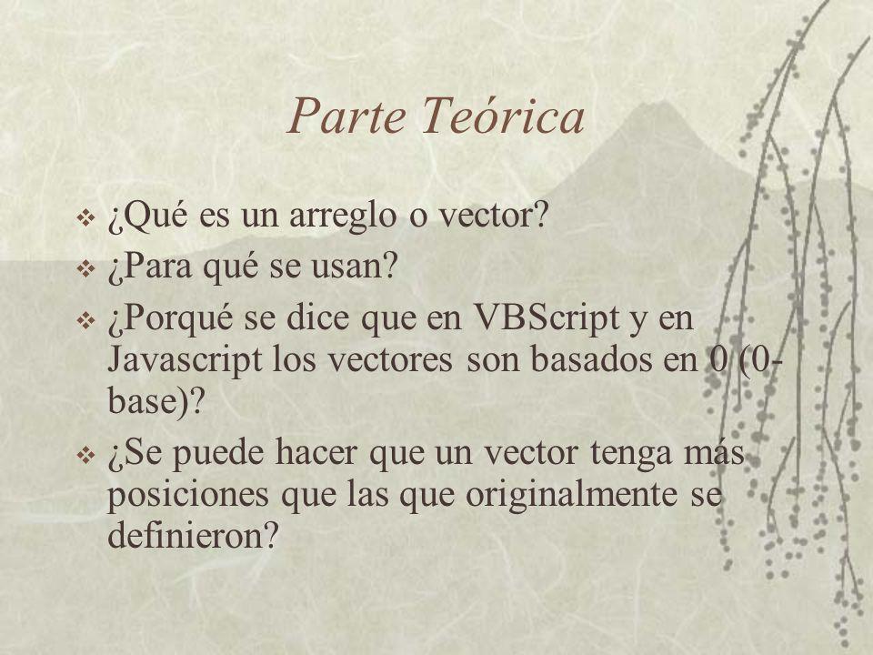Parte Teórica ¿Qué es un arreglo o vector. ¿Para qué se usan.