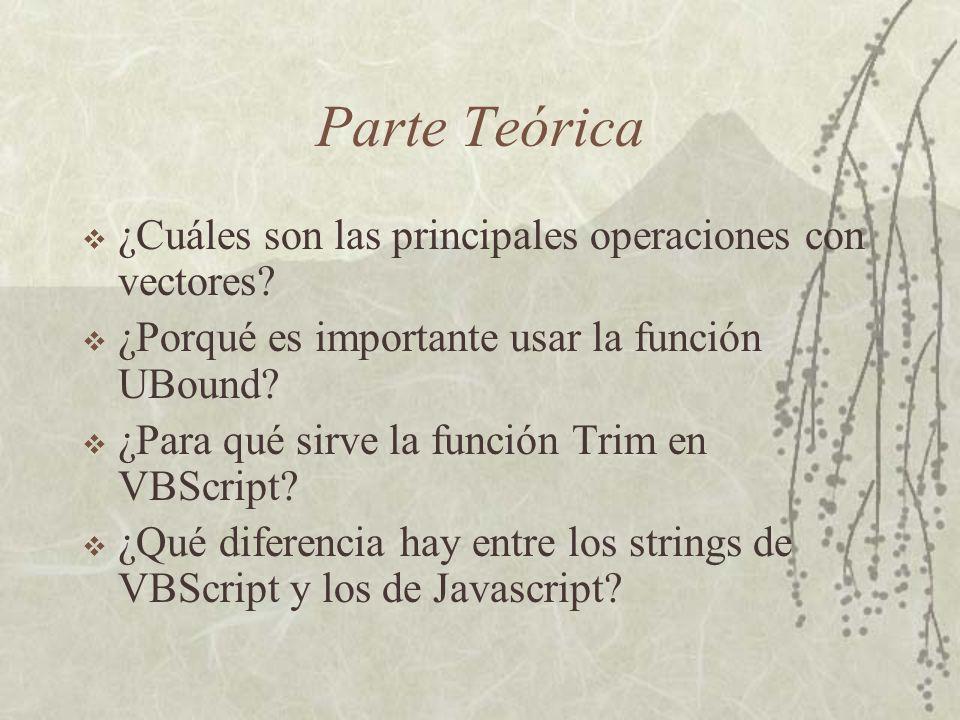 Parte Teórica ¿Cuáles son las principales operaciones con vectores.