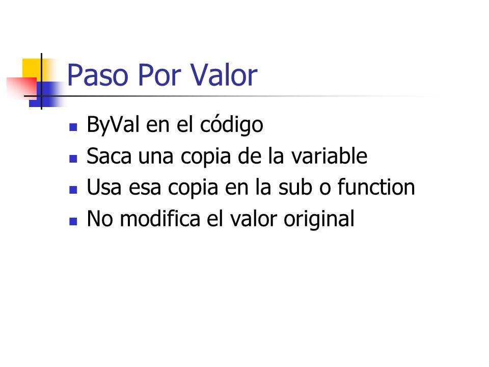 Paso Por Valor ByVal en el código Saca una copia de la variable Usa esa copia en la sub o function No modifica el valor original