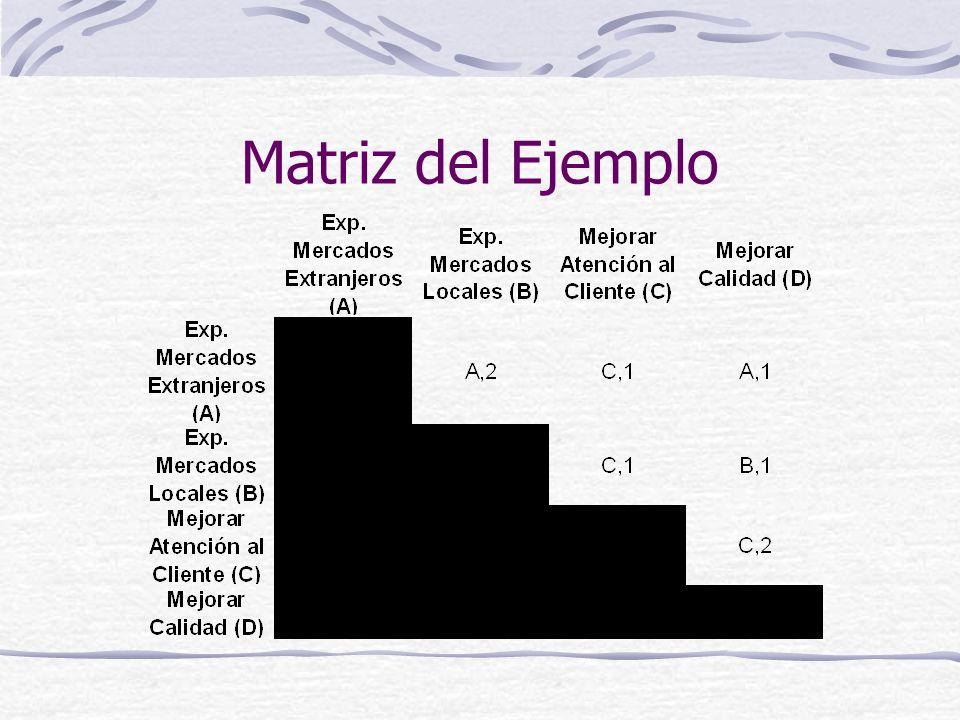 Matriz del Ejemplo