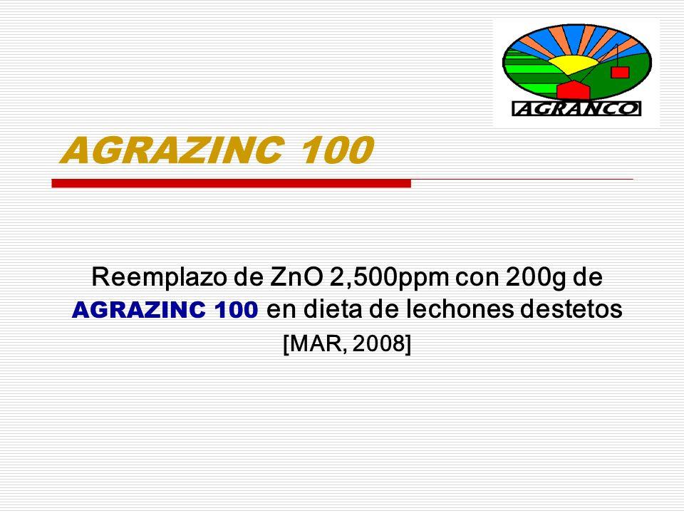 AGRAZINC 100 Reemplazo de ZnO 2,500ppm con 200g de AGRAZINC 100 en dieta de lechones destetos [MAR, 2008]