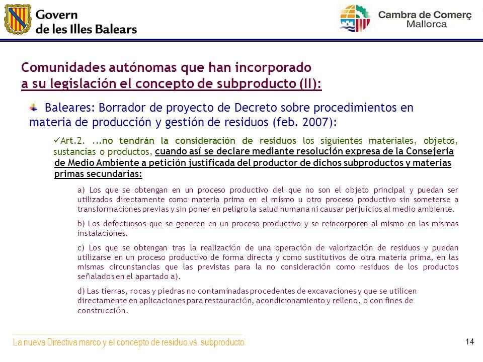 La nueva Directiva marco y el concepto de residuo vs. subproducto 14 Baleares: Borrador de proyecto de Decreto sobre procedimientos en materia de prod