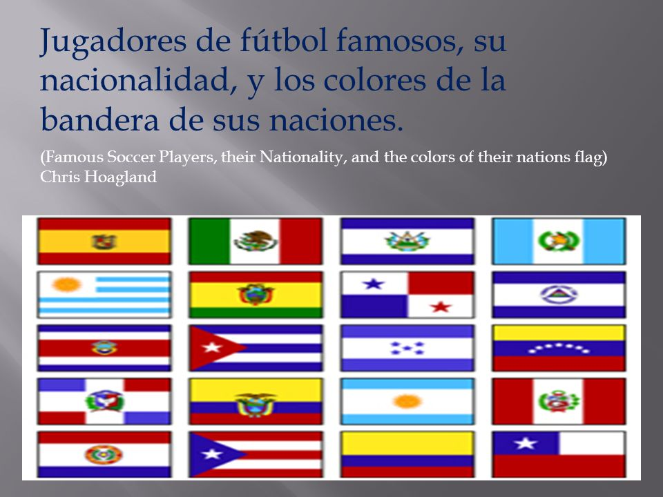 Jugadores de fútbol famosos, su nacionalidad, y los colores de la bandera de sus naciones. (Famous Soccer Players, their Nationality, and the colors o