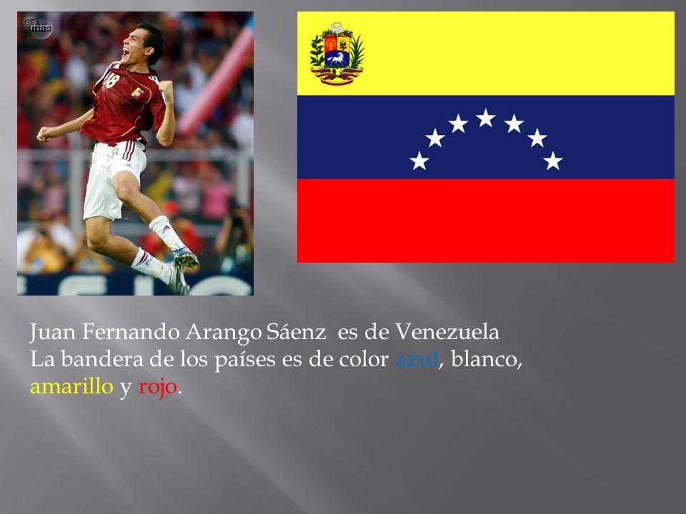 Juan Fernando Arango Sáenz es de Venezuela La bandera de los países es de color azul, blanco, amarillo y rojo.