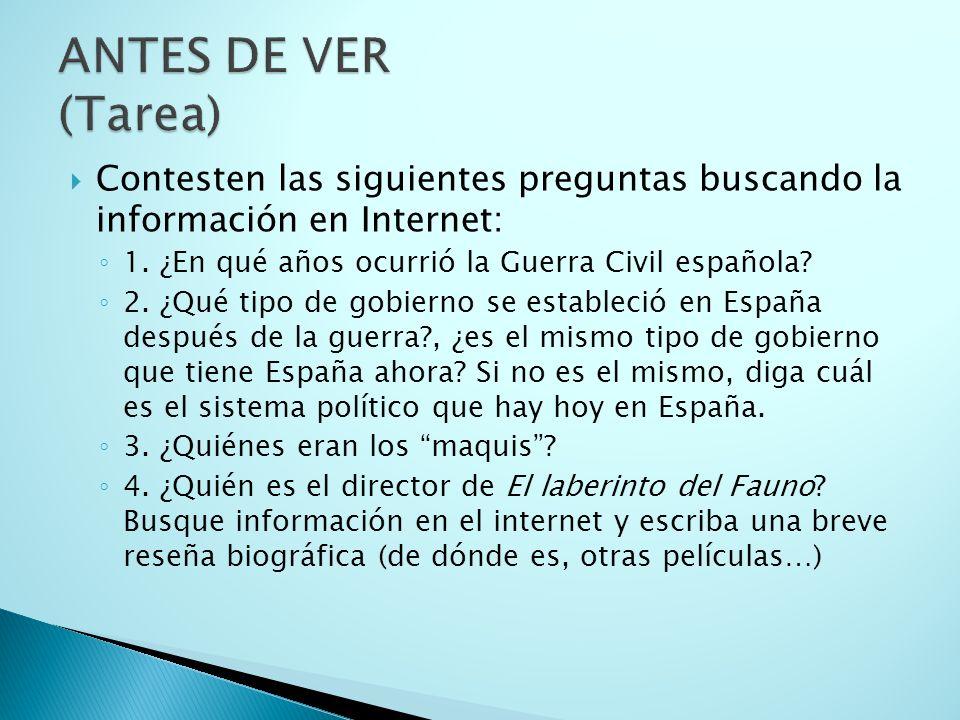 Contesten las siguientes preguntas buscando la información en Internet: 1. ¿En qué años ocurrió la Guerra Civil española? 2. ¿Qué tipo de gobierno se