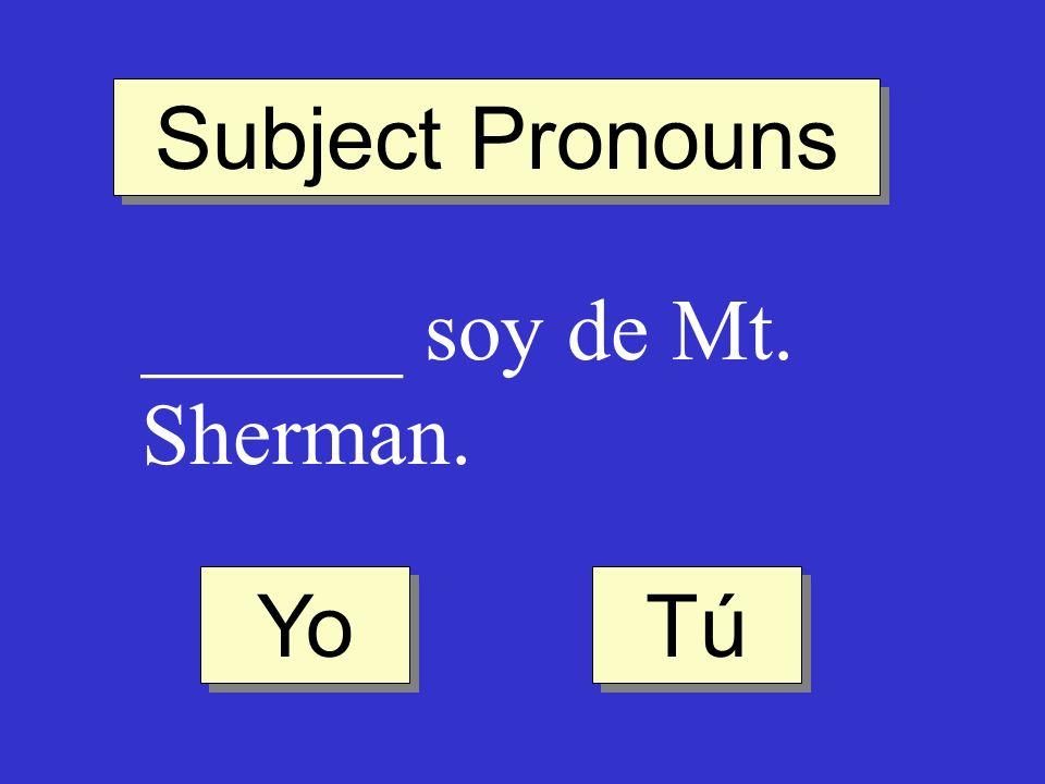 Subject Pronouns ______ soy de Mt. Sherman. Tú Yo