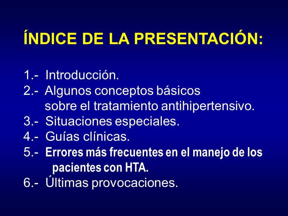 ÍNDICE DE LA PRESENTACIÓN: 1.- Introducción. 2.- Algunos conceptos básicos sobre el tratamiento antihipertensivo. 3.- Situaciones especiales. 4.- Guía