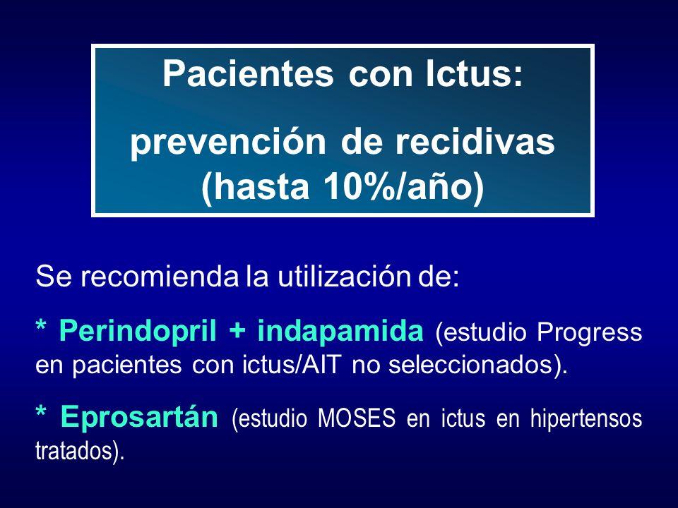 Se recomienda la utilización de: * Perindopril + indapamida (estudio Progress en pacientes con ictus/AIT no seleccionados). * Eprosartán (estudio MOSE