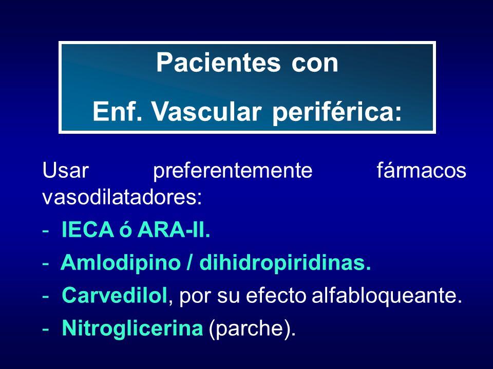 Usar preferentemente fármacos vasodilatadores: - IECA ó ARA-II. - Amlodipino / dihidropiridinas. - Carvedilol, por su efecto alfabloqueante. - Nitrogl