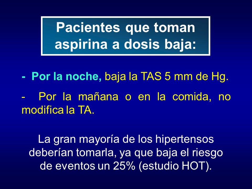 - Por la noche, baja la TAS 5 mm de Hg. - Por la mañana o en la comida, no modifica la TA. La gran mayoría de los hipertensos deberían tomarla, ya que