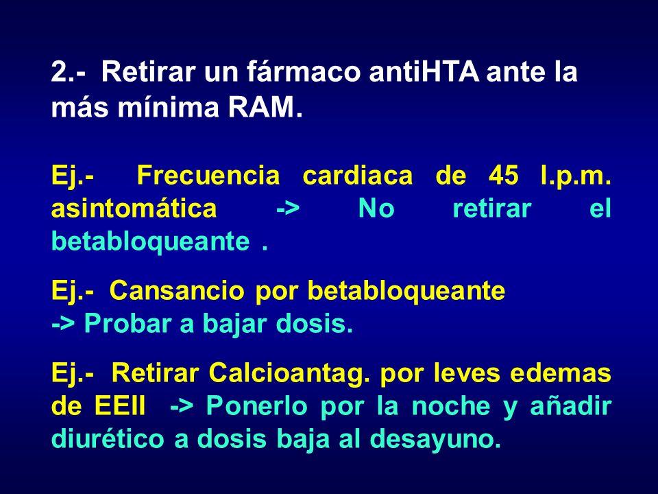 2.- Retirar un fármaco antiHTA ante la más mínima RAM. Ej.- Frecuencia cardiaca de 45 l.p.m. asintomática -> No retirar el betabloqueante. Ej.- Cansan