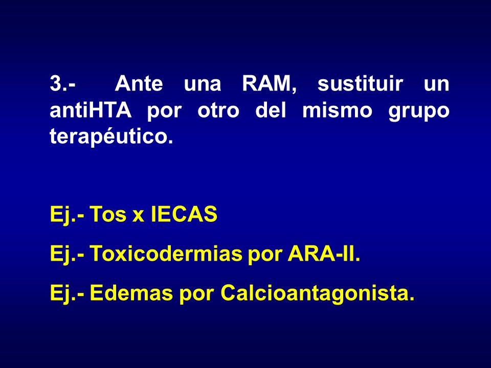 3.- Ante una RAM, sustituir un antiHTA por otro del mismo grupo terapéutico. Ej.- Tos x IECAS Ej.- Toxicodermias por ARA-II. Ej.- Edemas por Calcioant