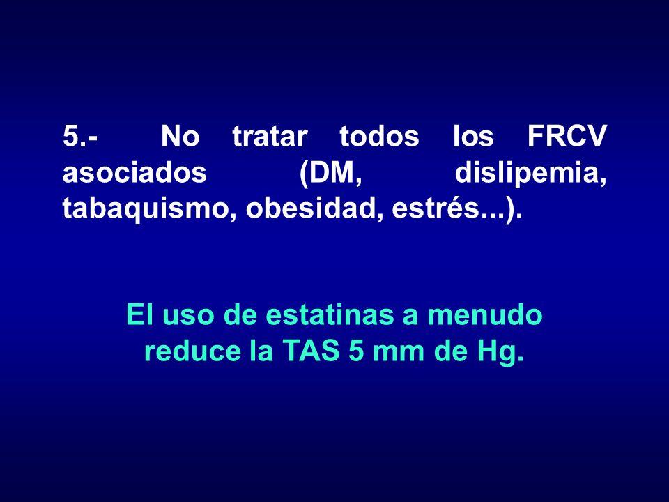 5.- No tratar todos los FRCV asociados (DM, dislipemia, tabaquismo, obesidad, estrés...). El uso de estatinas a menudo reduce la TAS 5 mm de Hg.
