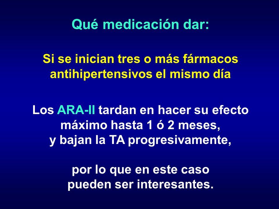 Qué medicación dar: Si se inician tres o más fármacos antihipertensivos el mismo día Los ARA-II tardan en hacer su efecto máximo hasta 1 ó 2 meses, y