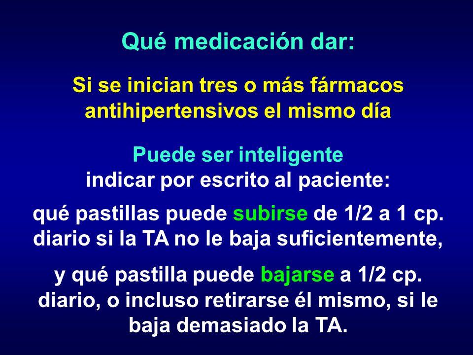 Qué medicación dar: Si se inician tres o más fármacos antihipertensivos el mismo día Puede ser inteligente indicar por escrito al paciente: qué pastil