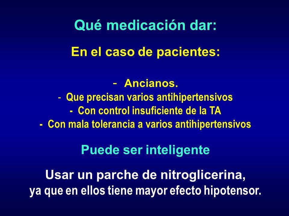 Qué medicación dar: En el caso de pacientes: - Ancianos. - Que precisan varios antihipertensivos - Con control insuficiente de la TA - Con mala tolera