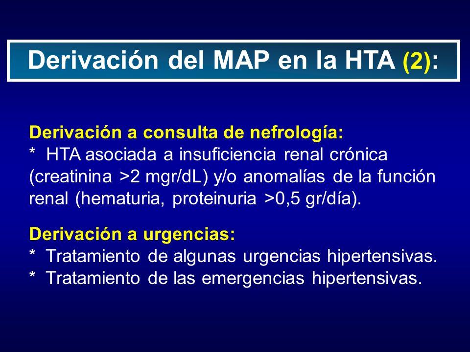 Derivación a consulta de nefrología: * HTA asociada a insuficiencia renal crónica (creatinina >2 mgr/dL) y/o anomalías de la función renal (hematuria,