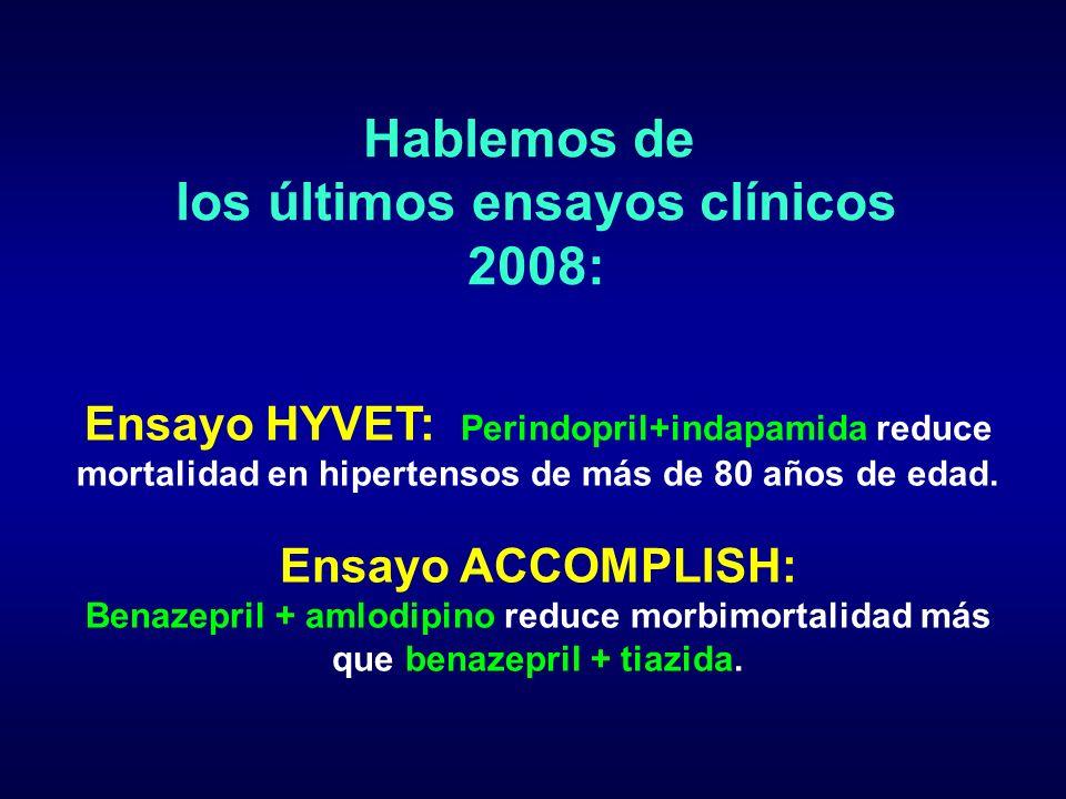 Hablemos de los últimos ensayos clínicos 2008: Ensayo HYVET: Perindopril+indapamida reduce mortalidad en hipertensos de más de 80 años de edad. Ensayo