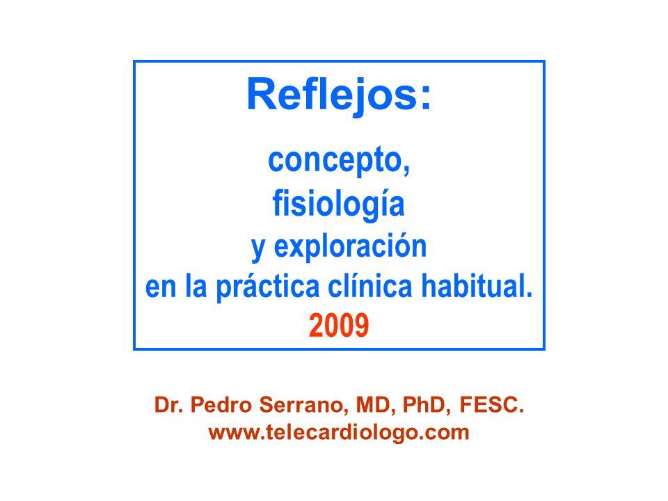 Un reflejo es… una respuesta involuntaria de tipo muscular (contráctil) o glandular (secretorio), ante determinados estímulos específicos (ej.- estiramiento, dolor, luz, etc).