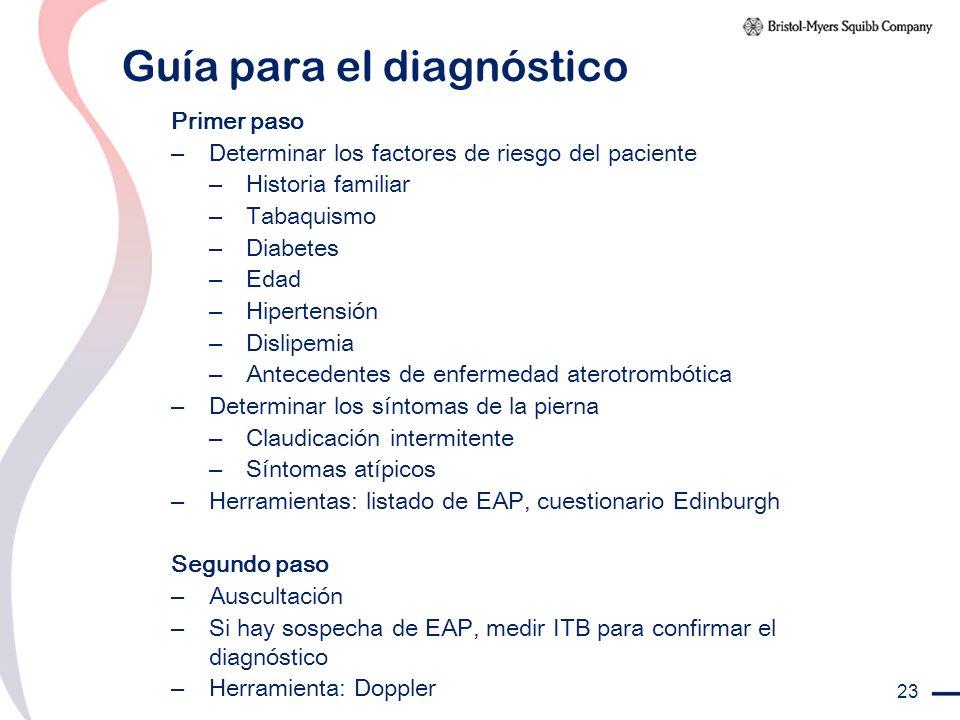 23 Guía para el diagnóstico Primer paso – Determinar los factores de riesgo del paciente – Historia familiar – Tabaquismo – Diabetes – Edad – Hiperten