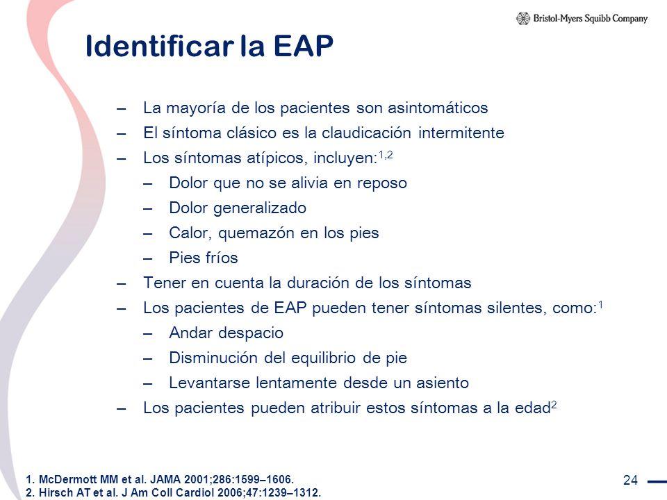 24 Identificar la EAP – La mayoría de los pacientes son asintomáticos – El síntoma clásico es la claudicación intermitente – Los síntomas atípicos, in