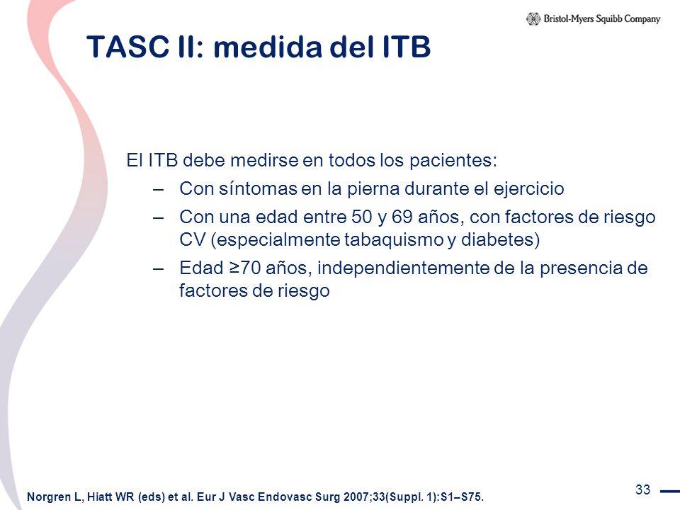 33 TASC II: medida del ITB El ITB debe medirse en todos los pacientes: – Con síntomas en la pierna durante el ejercicio – Con una edad entre 50 y 69 a