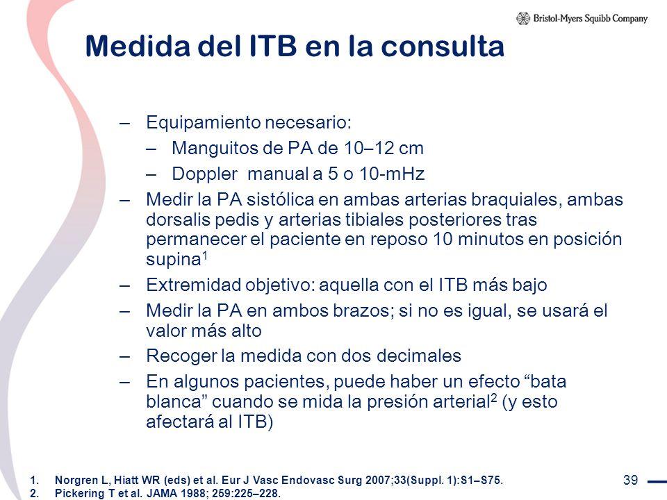 39 Medida del ITB en la consulta – Equipamiento necesario: – Manguitos de PA de 10–12 cm – Doppler manual a 5 o 10-mHz – Medir la PA sistólica en amba