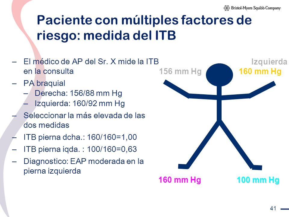41 Paciente con múltiples factores de riesgo: medida del ITB – El médico de AP del Sr. X mide la ITB en la consulta – PA braquial – Derecha: 156/88 mm