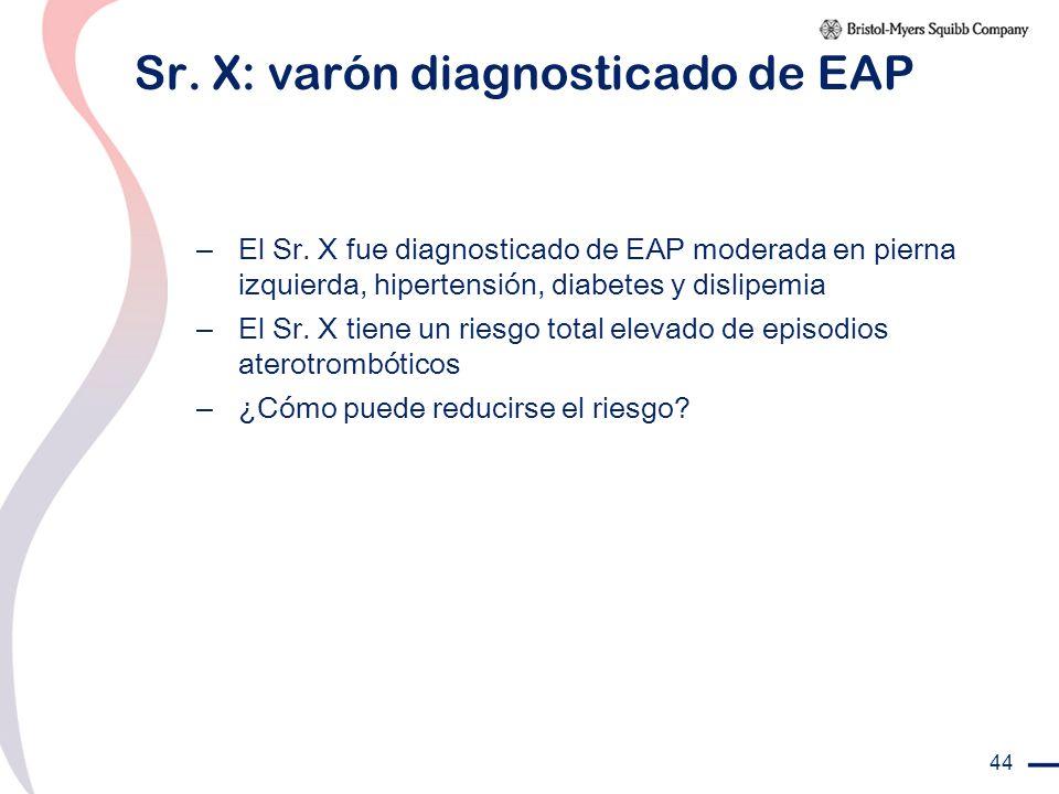 44 Sr. X: varón diagnosticado de EAP – El Sr. X fue diagnosticado de EAP moderada en pierna izquierda, hipertensión, diabetes y dislipemia – El Sr. X