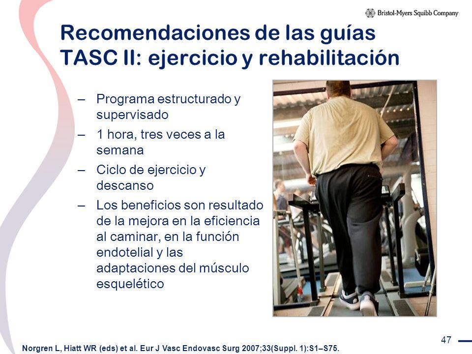 47 Recomendaciones de las guías TASC II: ejercicio y rehabilitación – Programa estructurado y supervisado – 1 hora, tres veces a la semana – Ciclo de