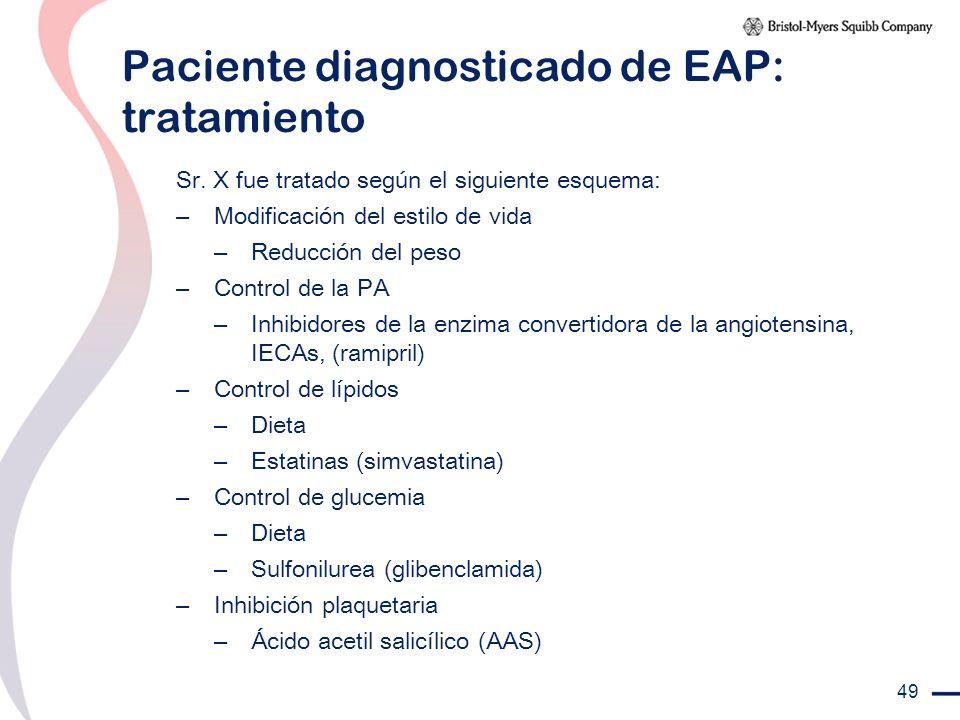 49 Paciente diagnosticado de EAP: tratamiento Sr. X fue tratado según el siguiente esquema: – Modificación del estilo de vida – Reducción del peso – C