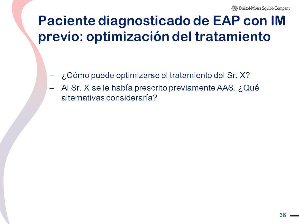 66 Paciente diagnosticado de EAP con IM previo: optimización del tratamiento – ¿Cómo puede optimizarse el tratamiento del Sr. X? – Al Sr. X se le habí
