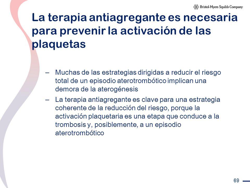 69 La terapia antiagregante es necesaria para prevenir la activación de las plaquetas – Muchas de las estrategias dirigidas a reducir el riesgo total
