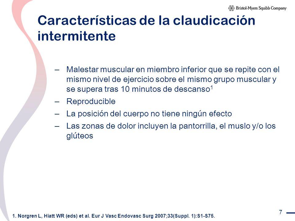 7 Características de la claudicación intermitente – Malestar muscular en miembro inferior que se repite con el mismo nivel de ejercicio sobre el mismo