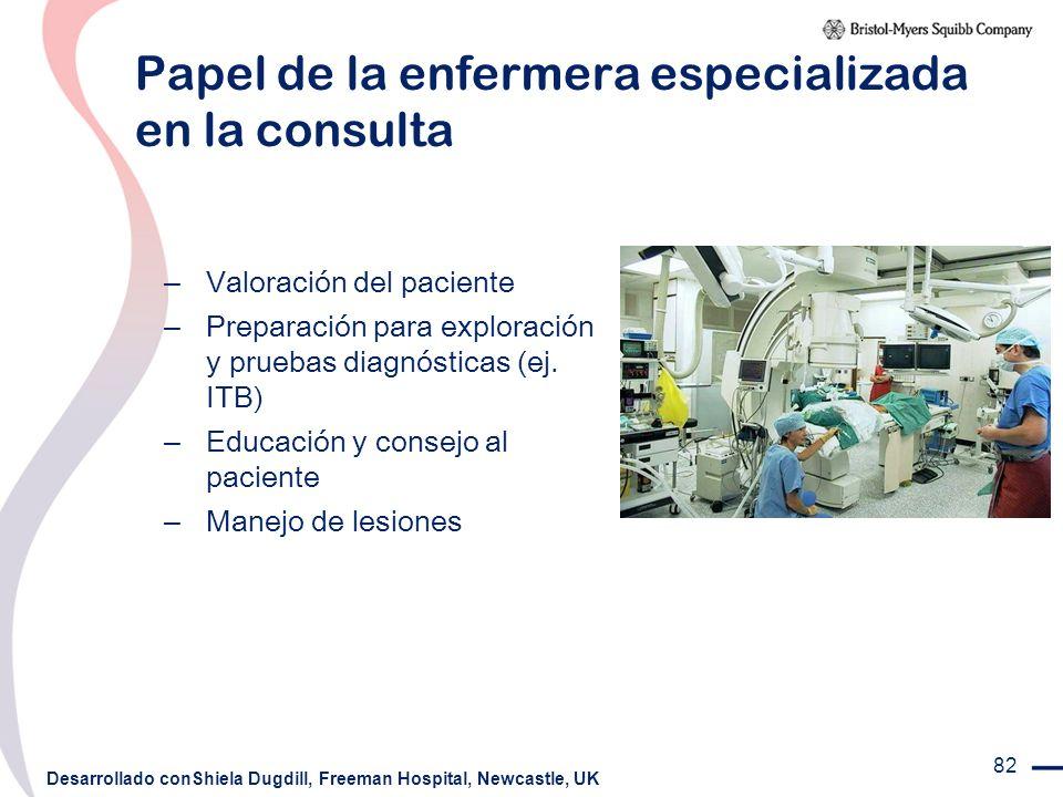 82 Papel de la enfermera especializada en la consulta – Valoración del paciente – Preparación para exploración y pruebas diagnósticas (ej. ITB) – Educ