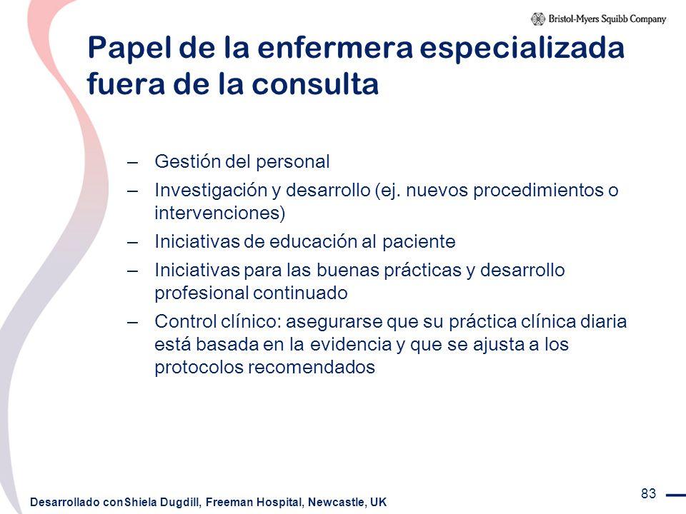 83 Papel de la enfermera especializada fuera de la consulta – Gestión del personal – Investigación y desarrollo (ej. nuevos procedimientos o intervenc