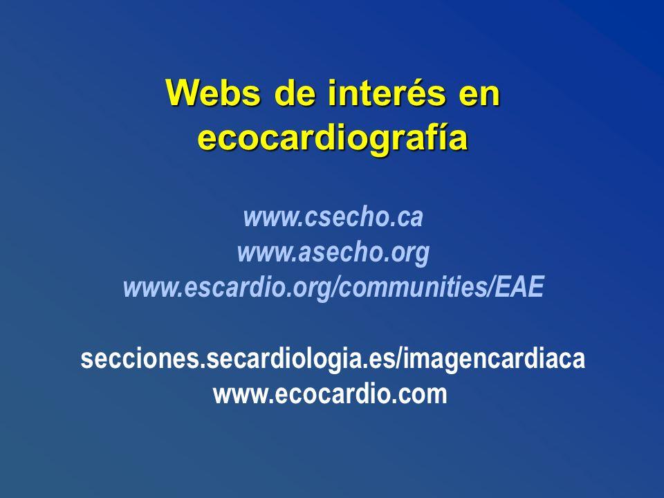 Webs de interés en ecocardiografía www.csecho.ca www.asecho.org www.escardio.org/communities/EAE secciones.secardiologia.es/imagencardiaca www.ecocard